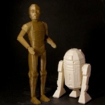 Low-Poly R2D2 y C3PO
