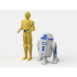 Low-Poly R2D2 and C3PO - Dual Extrusion version