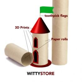 Castillo de rollos de papel