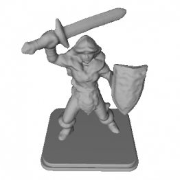 Female Barbarian Miniature 3D Model